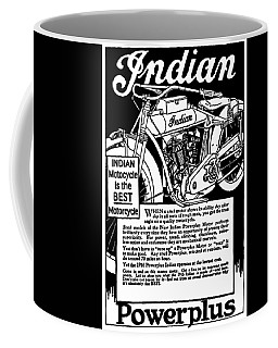 Coffee Mug featuring the digital art Indian Power Plus Motocycle Ad 1916 by Daniel Hagerman