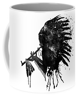 Coffee Mug featuring the mixed media Indian With Headdress Black And White Silhouette by Marian Voicu