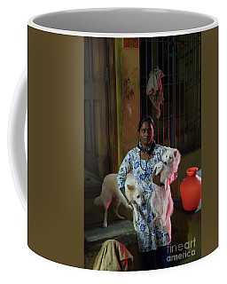 Coffee Mug featuring the photograph Indian Woman And Her Dogs by Mike Reid