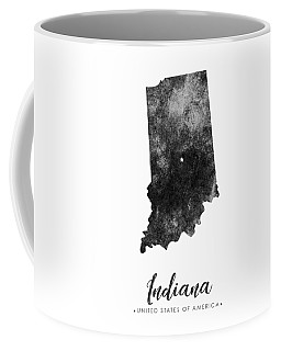 Indiana State Map Art - Grunge Silhouette Coffee Mug