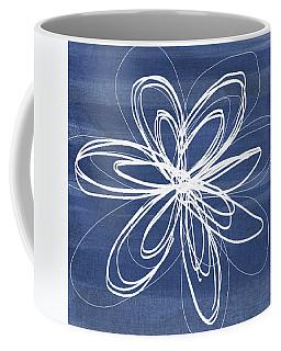 Indigo And White Flower- Art By Linda Woods Coffee Mug