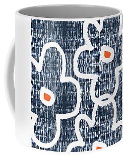 Indigo And White Jumbo Flowers- Art By Linda Woods Coffee Mug