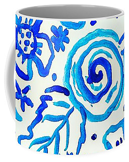 Coffee Mug featuring the painting Indigo Blooms by Monique Faella