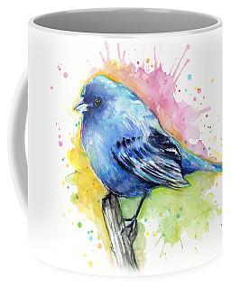 Indigo Bunting Blue Bird Watercolor Coffee Mug
