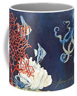 Indigo Ocean - Floating Octopus Coffee Mug by Audrey Jeanne Roberts