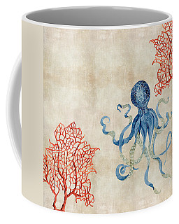 Indigo Ocean - Octopus Floating Amid Red Fan Coral Coffee Mug