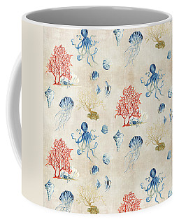 Indigo Ocean - Red Coral Octopus Half Drop Pattern Coffee Mug