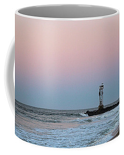 Coffee Mug featuring the photograph Inlet Jetty At Dawn by Robert Banach