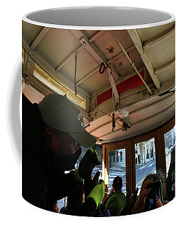 Coffee Mug featuring the photograph Inside A Cable Car by Steven Spak