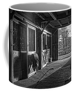 Coffee Mug featuring the photograph Inside The Horse Barn Black And White by Edward Fielding