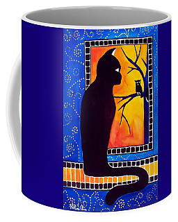 Insomnia - Cat And Owl Art By Dora Hathazi Mendes Coffee Mug