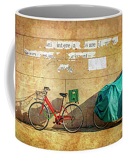 Intere Red Bicycle With Green Basket Coffee Mug