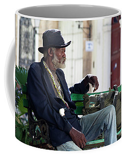 Coffee Mug featuring the photograph Interesting Cuban Gentleman In A Park On Obrapia by Charles Harden