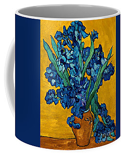Interpretation Of Vase With Irises Against A Yellow Background Coffee Mug