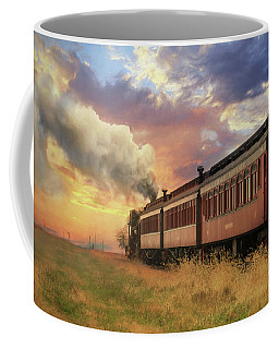 Coffee Mug featuring the mixed media Into The Sunset by Lori Deiter