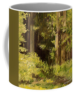 Coffee Mug featuring the painting Into The Woods by Laurie Rohner