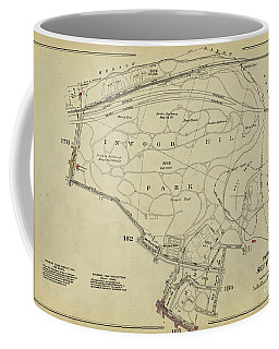 Coffee Mug featuring the photograph Inwood Hill Park 1950's Map by Cole Thompson