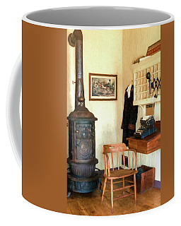 Coffee Mug featuring the photograph Iola Depot Office by Trey Foerster