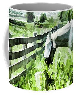 Coffee Mug featuring the digital art Iowa Farm Pasture And White Horse by Wilma Birdwell