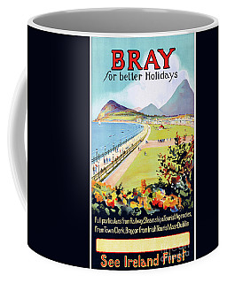 Coffee Mug featuring the mixed media Ireland Bray Vintage Travel Poster Restored by Carsten Reisinger