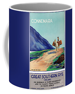 Coffee Mug featuring the mixed media Ireland Connemara Restored Vintage Travel Poster by Carsten Reisinger
