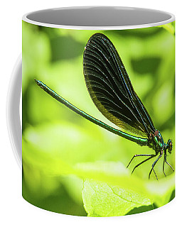 Iridescent Green And Blue Dragonfly Profile Coffee Mug