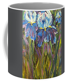 Coffee Mug featuring the painting Iris Floral Garden by Claire Bull