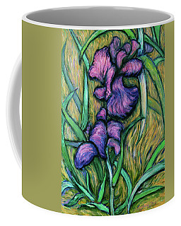 Coffee Mug featuring the painting Iris For Vincent - Contemporary Fauvist Post-impressionist Oil Painting Original Art On Canvas by Xueling Zou