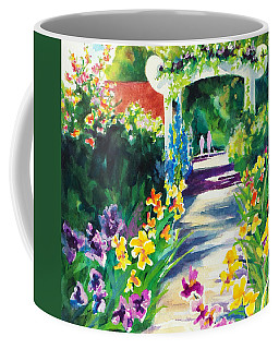 Coffee Mug featuring the painting Iris Garden Walkway   by Kathy Braud