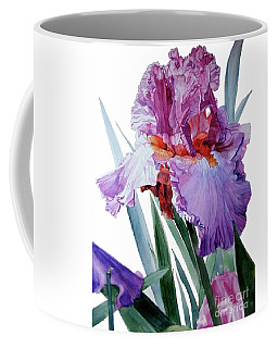 Watercolor Of A Tall Bearded Iris In Pink, Lilac And Red I Call Iris Pavarotti Coffee Mug
