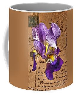 Iris On Vintage 1912 Postcard Coffee Mug