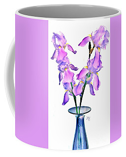 Coffee Mug featuring the digital art Iris Still Life In A Vase by Marsha Heiken