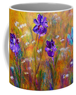 Iris Wildflowers And Butterfly Coffee Mug