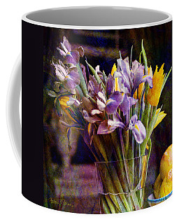Irises In A Glass Coffee Mug