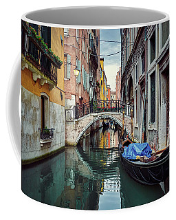 Gondola Parked On Lonely Water Canal In Venice, Italy Coffee Mug
