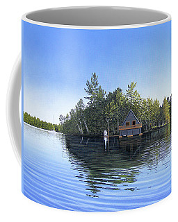 Coffee Mug featuring the painting Island Boathouse Muskoka  by Kenneth M Kirsch