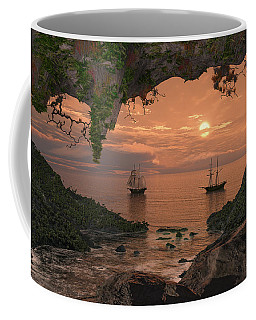 Coffee Mug featuring the digital art Island Retreat by Mary Almond