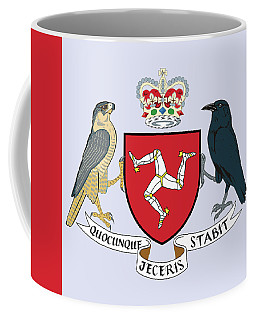 Coffee Mug featuring the drawing Isle Of Man Coat Of Arms by Movie Poster Prints