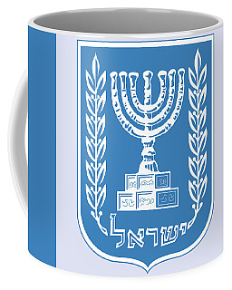 Coffee Mug featuring the drawing Israel Coat Of Arms by Movie Poster Prints