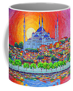 Istanbul Blue Mosque Sunset Modern Impressionist Palette Knife Oil Painting By Ana Maria Edulescu    Coffee Mug