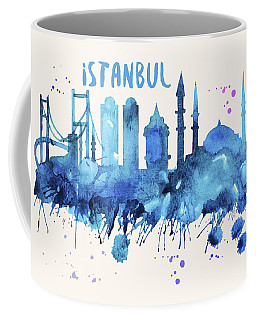 Istanbul Skyline Watercolor Poster - Cityscape Painting Artwork Coffee Mug