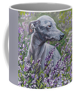 Coffee Mug featuring the painting  Italian Greyhound In Flowers by Lee Ann Shepard