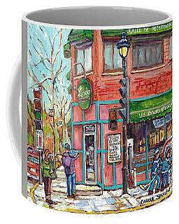 Italian Restaurant Linda Verdun Montreal Painting Winter City Scene Hockey Game Art Carole Spandau   Coffee Mug