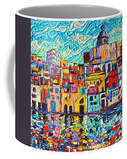 Italy Procida Island Marina Corricella Naples Bay Palette Knife Oil Painting By Ana Maria Edulescu Coffee Mug by Ana Maria Edulescu