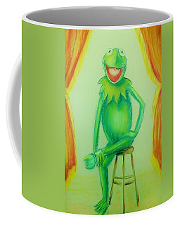 Coffee Mug featuring the drawing It's Not Easy Being Green by Denise Fulmer