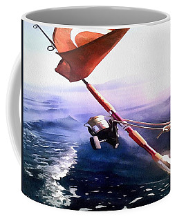 Coffee Mug featuring the painting It's Reel Gone Fishing by Tracey Harrington-Simpson