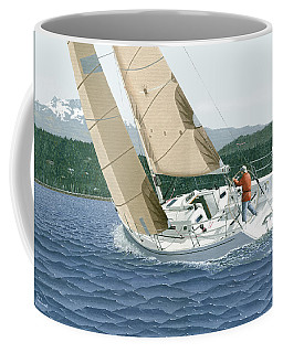 Coffee Mug featuring the painting J-109 Sailboat Off Comox B.c. by Gary Giacomelli