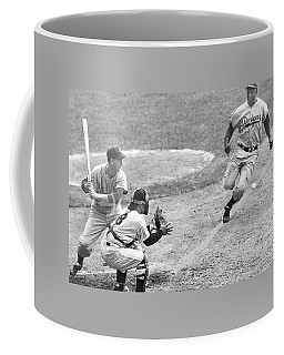 Jackie Robinson Stealing Home Yogi Berra Catcher In 1st Game 1955 World Series Coffee Mug