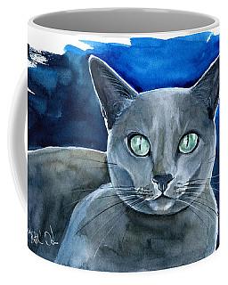 Jackpot - Russian Blue Cat Painting Coffee Mug