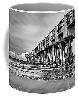 Jacksonville Beach Pier In Black And White Coffee Mug